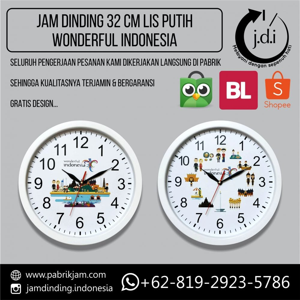 Jam Dinding Promosi 32 cm Wonderful Indonesia