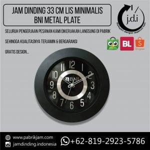Jam Dinding Promosi 33 cm Lis Tebal Minimalis Metal Plat BNI