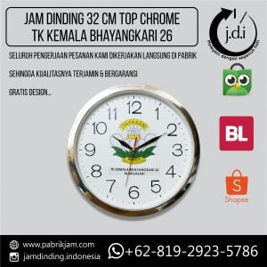 JAM DINDING PROMOSI 32 CM TOP CHROME TK KEMALASARI