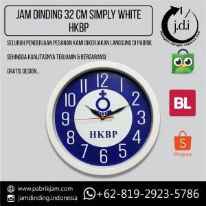 Souvenir Jam Dinding 32 cm Simply White HKBP