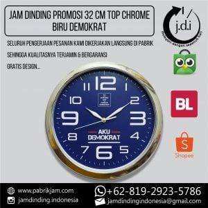 JAM DINDING PROMOSI 32 CM TOP CHROME BIRU DEMOKRAT
