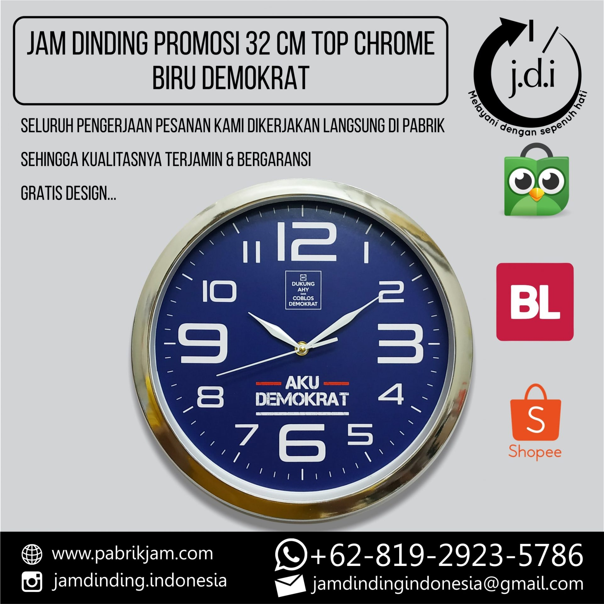JAM DINDING PROMOSI 32 CM TOP CHROME BIRU DEMOKRAT
