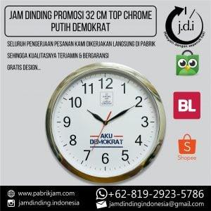 JAM DINDING PROMOSI 32 CM TOP CHROME PUTIH DEMOKRAT