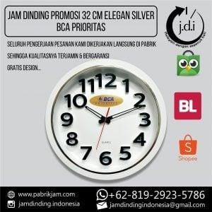 JAM DINDING PROMOSI 32 CM LIS SILVER TEBAL MINIMALIS BCA PRIORITAS