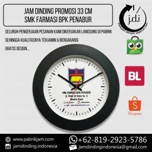 SOUVENIR JAM DINDING PROMOSI 33 CM HITAM SMK BPK FARMASI
