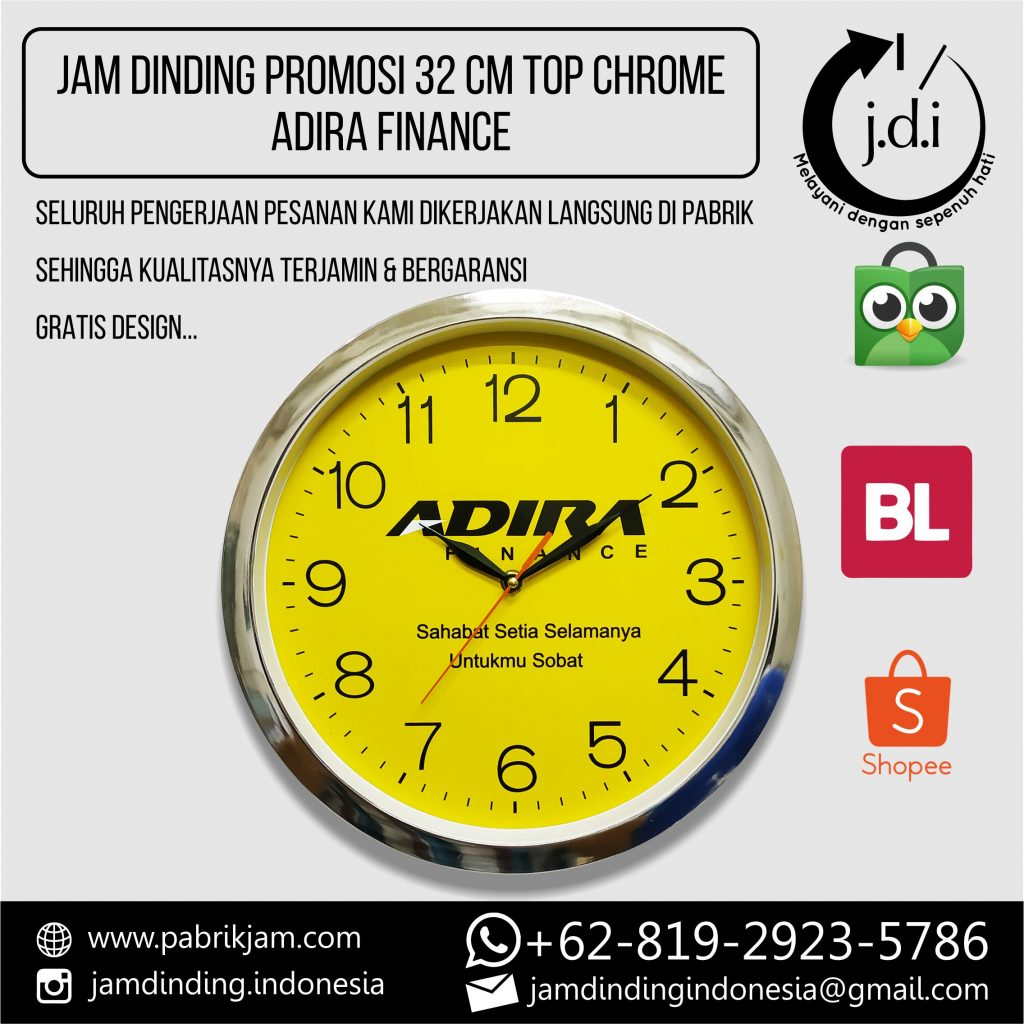 SOUVENIR MERCHANDISE JAM DINDING PROMOSI 32 CM TOP CHROME ADIRA FINANCE
