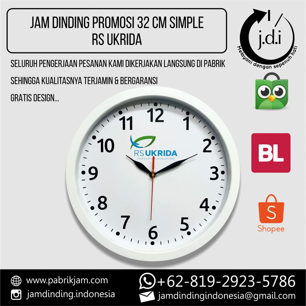 SOUVENIR MERCHANDISE JAM DINDING PROMOSI 32 CM SIMPLE RS UKRIDA