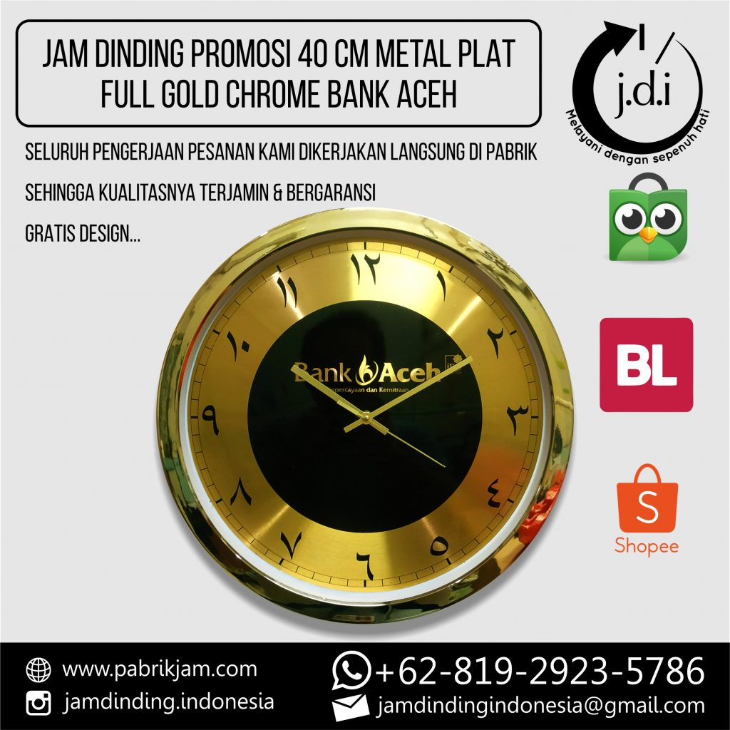 SOUVENIR JAM DINDING PROMOSI 40 CM METAL PLAT FULL GOLD CHROME BANK ACEH