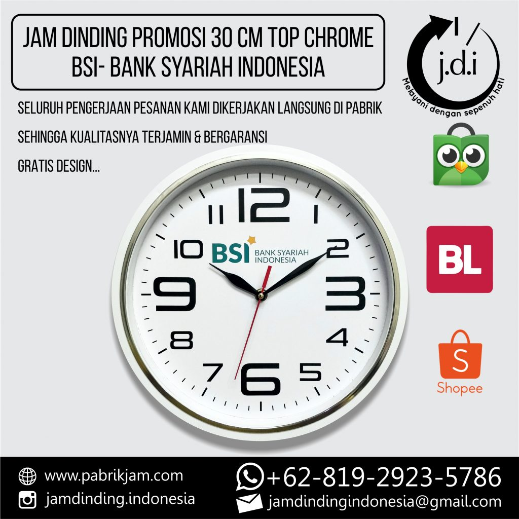 SOUVENIR MERCHANDISE JAM DINDING PROMOSI 30 CM TOP CHROME BSI BANK SYARIAH INDONESIA