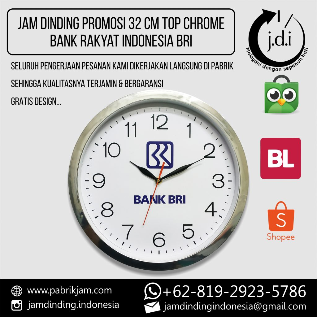 SOUVENIR MERCHANDISE JAM DINDING PROMOSI 32 CM TOP CHROME BANK RAKYAT INDONESIA BRI