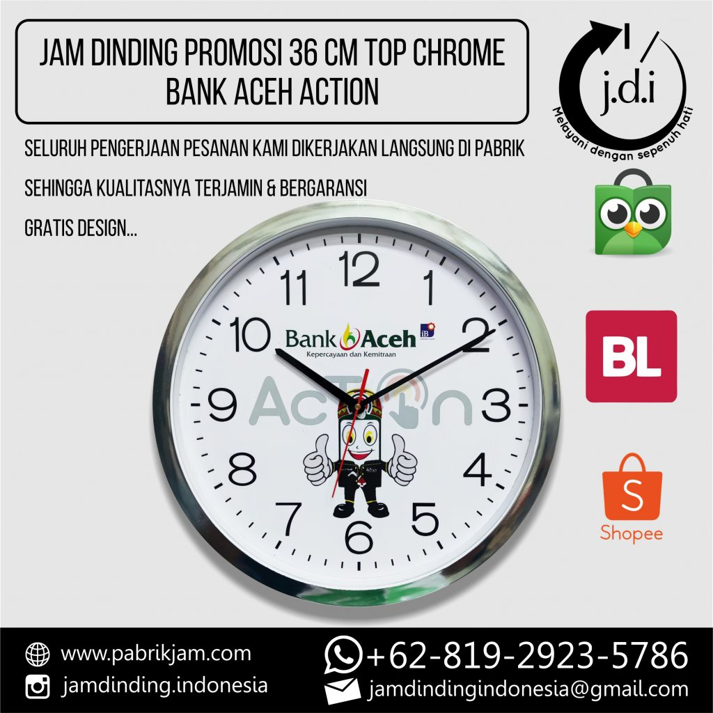 SOUVENIR MERCHANDISE JAM DINDING PROMOSI 40 CM TOP CHROME BANK ACEH ACTION